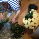 Preparing the roses for their week of waiting
